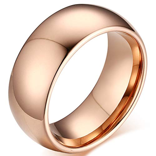 Hinghok Men Women 10MM Wide Tungsten Carbide Rose Gold Classic Smooth Fashion Domed Wedding Ring Engagement Band Size 7 (Rose Gold Wedding Band With Platinum Engagement Ring)