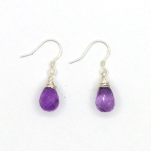 India Natural Amethyst, Faceted Water Droplets,Scattered Tears Beads, Silver Teardrop Earrings. Wire Wrapped Drop Earrings. Dainty Bead Dangle Earrings. Semi Precious Gemstone Jewelry