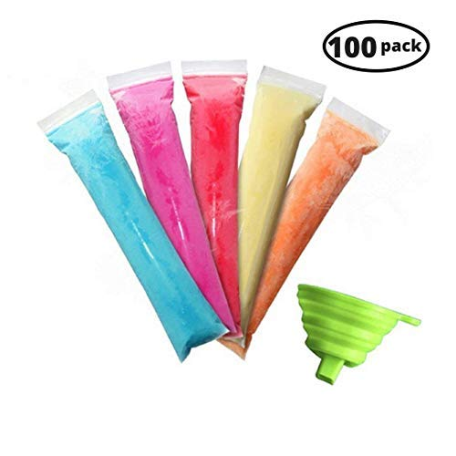 Urbanviva 100 Pack Popsicle Molds Pouch Bags, Disposable DIY Ice Pop Mold Bags for Yogurt, Ice Cream, Otter Pops Or Freeze Pops. BPA Free and FDA Approved, with Funnel