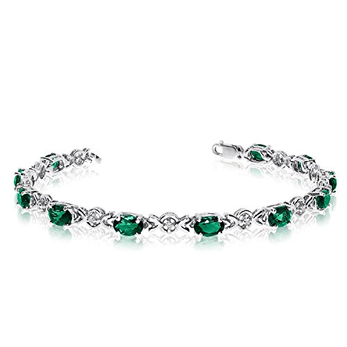 Genuine Emerald Tennis Bracelet - Jewels By Lux 10K White Gold Oval Emerald and Diamond Bracelet