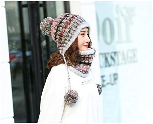 Vier Farben MAKFORT Winter M/ütze Loop Schal Damen Bommelm/ütze Mit Maske Frauen Warm Stricken Beanie M/ütze Mit Pompon Winter Warm Loop Damen