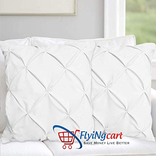 (Flying Cart White Solid Pinch Pleated Pintuck Euro Pillow Shams Set of 2 - Hypoallergenic 500-TC 100% Egyptian Cotton Decorative Pintuck European Pillow Sham (White, Euro 26'' x 26''))