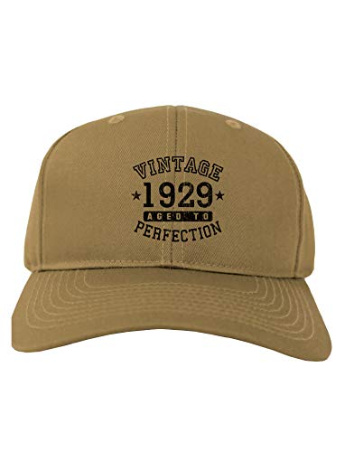 TooLoud 90th Birthday Vintage Birth Year 1929 Adult Baseball Cap Hat - Khaki