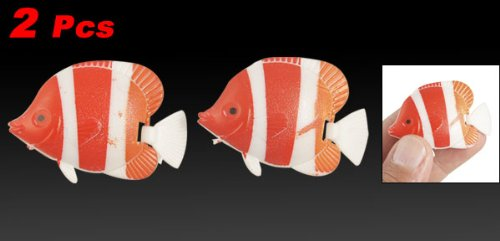 3-color Swing Tail Swimming Plastic Fish for Aquarium Ornament 2 Pcs