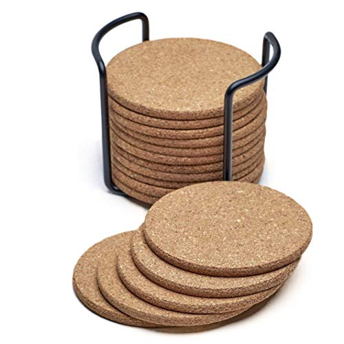 Natural Cork Coasters with Round 17 pc Set with Metal Holder Storage Caddy Thick Absorbent Eco-Friendly Heat-Resist ()