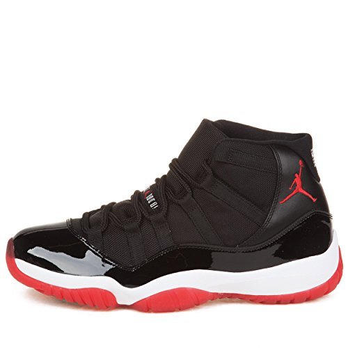 "Nike Mens Air Jordan 11 Retro ""Bred"" Black/Varsity Red-White Leather Basketball Shoes Size 11"