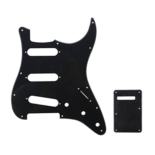 Musiclily SSS 11 Holes Strat Electric Guitar Pickguard and BackPlate Set for Fender US/Mexico Made Standard Stratocaster Modern Style Guitar Parts,1Ply Black