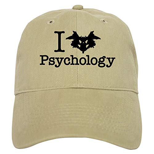 CafePress I Heart (Rorschach Inkblot) Psychology Baseball Cap with Adjustable Closure, Unique Printed Baseball Hat Khaki