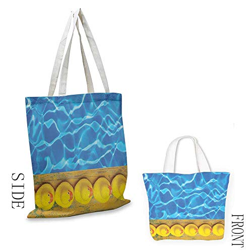 Shopping work bag Yellow and Blue Cute Rubber Ducks Lined Up Near the Pool Azure Water Fun Summer Cosmetic bag 16.5