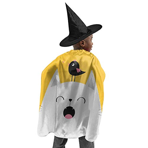Cats Singing Halloween Songs (Unisex Kids Polyester Hooded Cloak Cape Cat Face Silhouette Meowing Singing Song Halloween Party Decoration Role Cosplay Costumes)