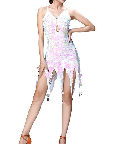 Whitewed Salsa Ballroom Dance Club Party Outfits Costumes for Women Adult White ()