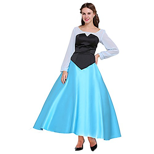 [CosplayDiy Women's Fairy Tale Princess Costume Dress Adult Girls Blue XS] (Ariel Dress For Adults)