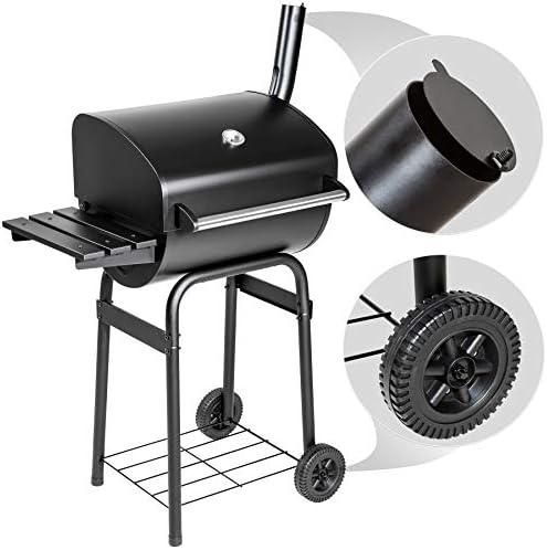 TecTake BBQ Barbecue Charbon de Bois avec Thermomètre, Grill au Charbon avec 2 Grandes Roues, Fumoir Smoker, Multifonctions, Acier