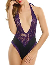 Avidlove Teddy Lingerie For Women Halter One piece Lace Bodysuit Sleepwear