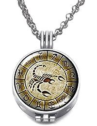 Vintage Constellation Theme Locket Pendant Necklace Perfume Essential Oil Aromatherapy Diffuser DZ1824