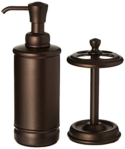 InterDesign York Metal Soap Dispenser Pump and Toothbrush Holder Stand for Bathroom Countertops - Set of 2, Bronze