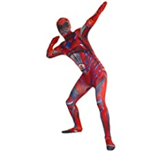 Morphsuits Superhéroe Disfraz Carnaval Morphsuit Poder Oficial Ranger Negro 90 años unisex Extra Grande