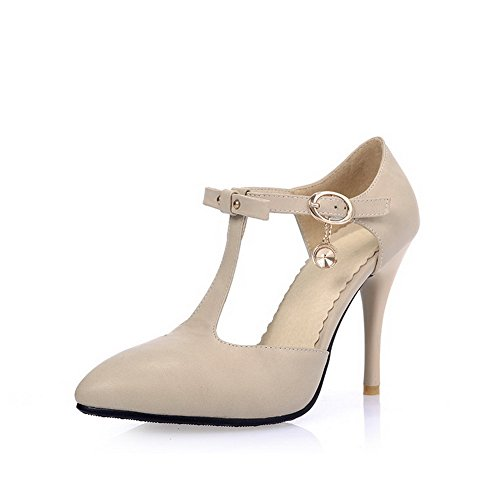AgooLar Women's Closed Pointed Toe High-Heels Soft Material Solid Buckle Sandals Beige gOh69