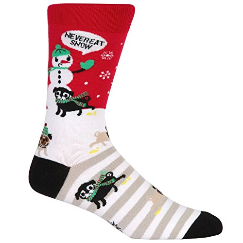 Sock It To Me Men's Christmas Crew Socks - Never Eat Snow,Multi-color,7-13