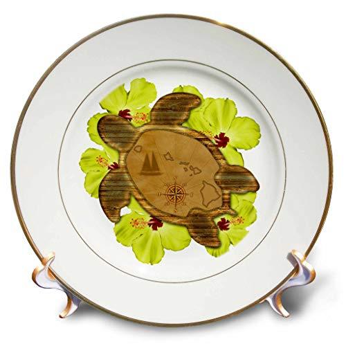 3dRose Macdonald Creative Studios - Hawaii - Sea Turtle Hawaii map and Tropical Yellow Hibiscus Flowers. - 8 inch Porcelain Plate (cp_299209_1) (Flower Porcelain Hibiscus)
