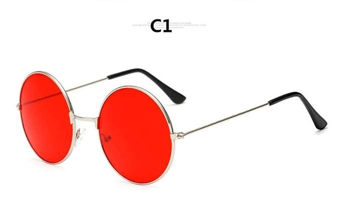 WHAELI Gafas de sol rojas Round metal burst ocean lens para ...