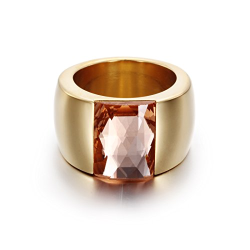 HANTIAN Cubic Zirconia Rings For Women and Girl 18K Gold Plated Stainless Steel Rings (Orange, (10 Stone Ring)