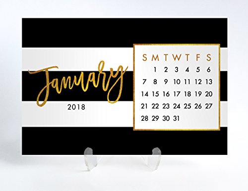 2018 Desk Calendar with Clear Acrylic Stand Black & White Stripe with Gold Faux Foil Planner Cards Office Gift 4 inches x 6 inches Tory Black