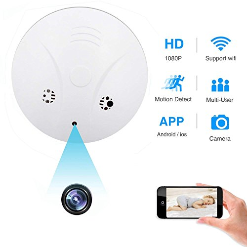 Spy Hidden Camera, ZDMYING WiFi Smoke Detector Camera, HD1080 Motion Detection Loop Recording Remotely View Security Nanny Cam for Home Office Support iOS/Android/PC/Mac