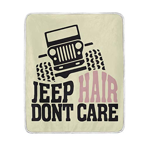 VIMMUCIR Home Decor Jeep Hair Dont Care Blanket Soft Warm Throw Blankets for Bed Sofa Lightweight Travelling Camping 50 x 60 Inch for Kids Adults