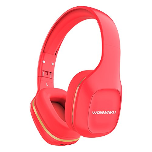 Bluetooth Headphones Over Ear, WONWAKU Hi-Fi Stereo Wireless Headset Headphone Foldable Soft Comfortable Wireless Headphones with Mic for Cell Phone/ PC /TV (Red) new
