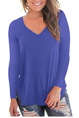 NIASHOT Women's Long Sleeve V Neck Casual Loose Tee Shirt Top Plus Size Royal Blue 2XL