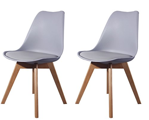 Creation Yusheng Eames Style Soft Padded Seat Dining Chair, Modern and Body Engineering Design Chairs with Wooden Leg, Grey, Set of 2