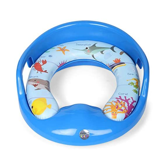 Nabhya Toilet Trainer Soft Cushion Baby Potty Seat with Handle and Back Support Toilet Seat for Western Toilet (Blue)