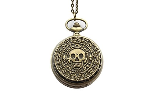 The Pirates of The Caribbean Necklace-doubloon Coin Skull Pattern (Pirate Pocket Watch)