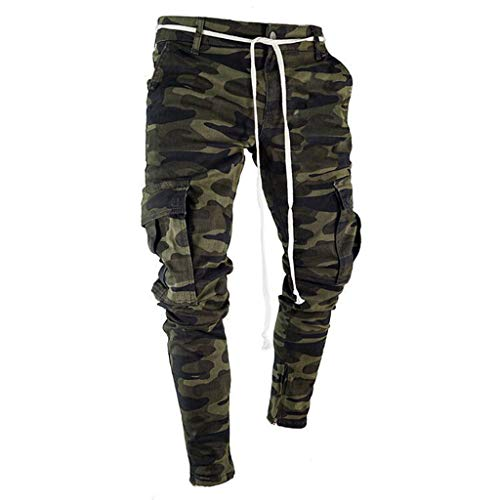 Men Camouflage Skinny Fit Cargo Jeans Casual Jogger with Pocket Wild Cargo Pants (L, Camouflage)