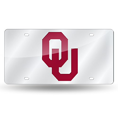 Rico Industries NCAA Oklahoma Sooners Laser Inlaid Metal License Plate Tag, Silver - Oklahoma Sooners License Plate