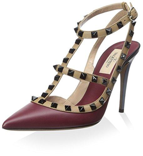 Valentino Women's Rockstud Ankle Strap Pump, Maroon, 38.5 M EU/8.5 M US