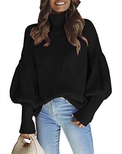 - QZUnique Women's Puff Sleeve Loose Pullover Knit Sweater Jumper Top Black US 18W