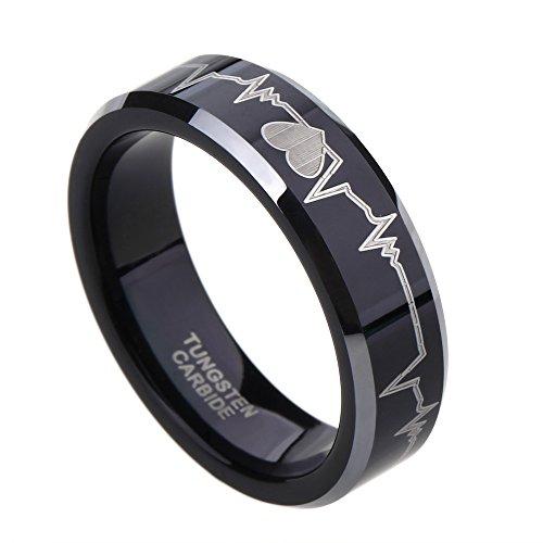 6mm Tungsten Carbide Wedding Rings EKG Heart Beat Surface Anniversary Gift Size 4-15