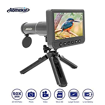 Image of AOMEKIE Digital Telescope 50X Monocular Camera 5inch LCD Rotating 1080P Large Screen for Hunting Fishing Bird Watching Outdoor Adventure