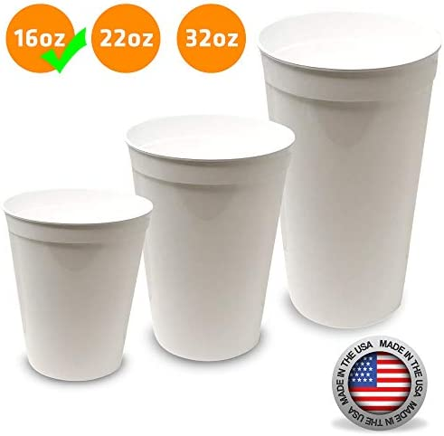 CSBD Stadium 16 oz. Plastic Cups, 10 Pack, Blank Reusable Drink Tumblers for Parties, Events, Marketing, Weddings, DIY Projects or BBQ Picnics, No BPA (Black) 2