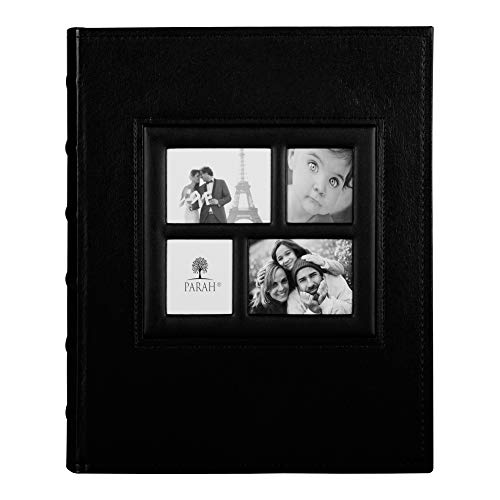 PARAH LIFE Luxury 200 5X7 Photo Album for Wedding Anniversary Vacation Baby and Family Photos Beautiful Leather Bound Picture Display Book for 200 5x7 Photographs Scrapbook Foto Black