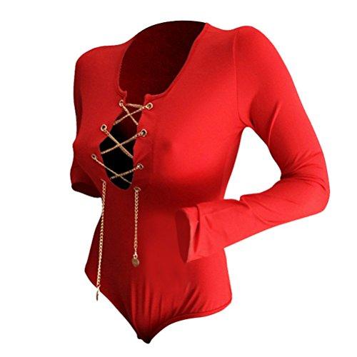 Vobaga Mujeres Manga larga del estiramiento delgado malla mameluco Mono Tops Rojo