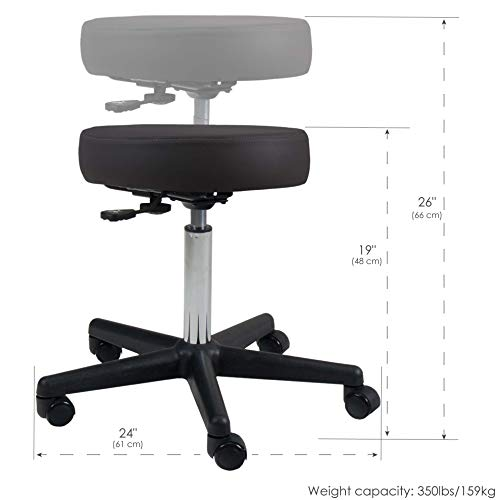 EARTHLITE Pneumatic Massage Salon Drafting Stool - No Leaking (vs. Hydraulic), Adjustable, Rolling, CFC-Free / Medical Spa Facial Chair