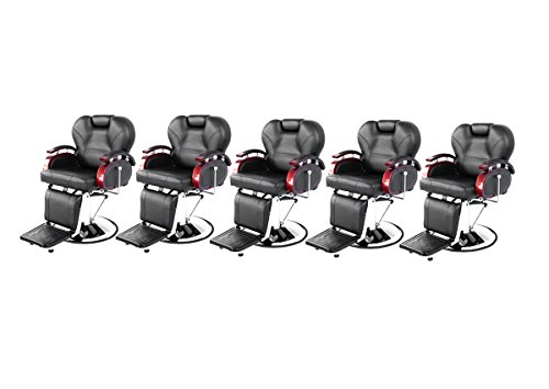 BarberPub Five All Purpose Hydraulic Recline Salon Beauty Spa Shampoo Styling Barber Chairs 8705 Black by BarberPub