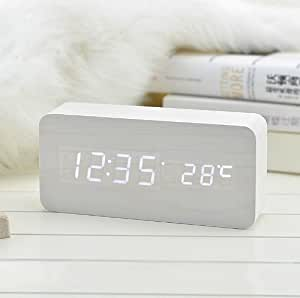 Echo Wood Digital Alarm Clock White LED (White)