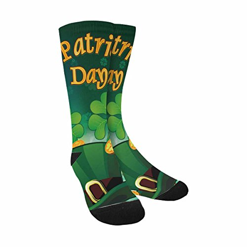 InterestPrint Funny Cute Novelty and Cool Saint Patric Days Plawith Hat, Clover and Treasure Sublimated Crew Socks (Saint Patrics Day)