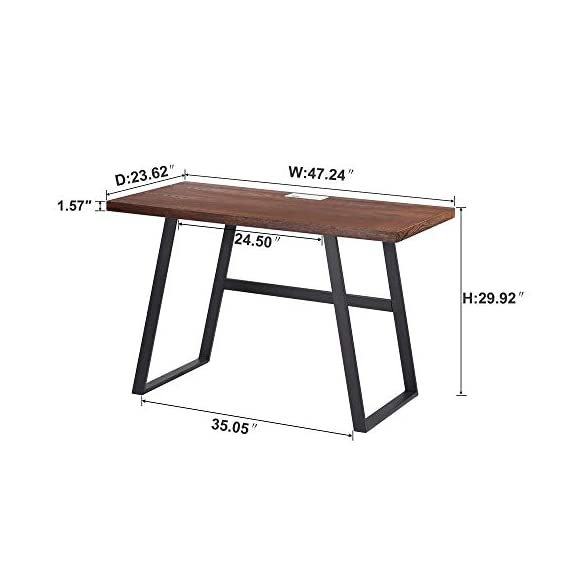 BON AUGURE Small Wooden Writing Desk, Industrial Computer Desk for Small Spaces, Rustic Table Desk for Home Office (47… -  - writing-desks, living-room-furniture, living-room - 41liokeMx9L. SS570  -