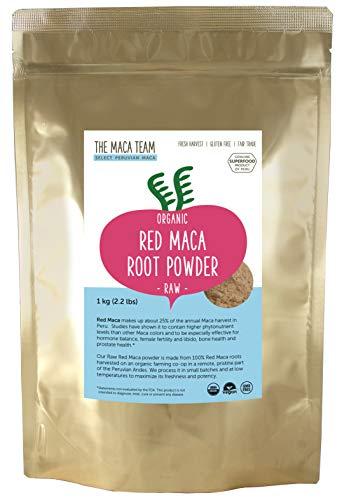The Maca Team Raw Red Maca Powder, Fair-Trade, GMO-Free Maca from Peru, 2.2 Pounds, 111 Servings (Best Red Maca Powder)