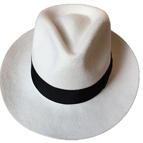 2024fc33254d0 Jual White Wool Felt Gangster Mobster Fedora Hat Diamond Crown ...